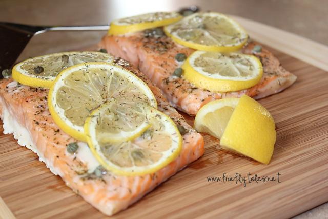 Easy Baked Dill, Lemon & Caper Salmon | www.fireflytales.net